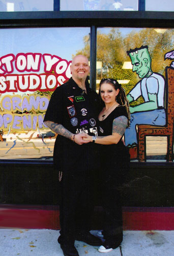 Renee & Storm Anderson in front of Art on You Studios